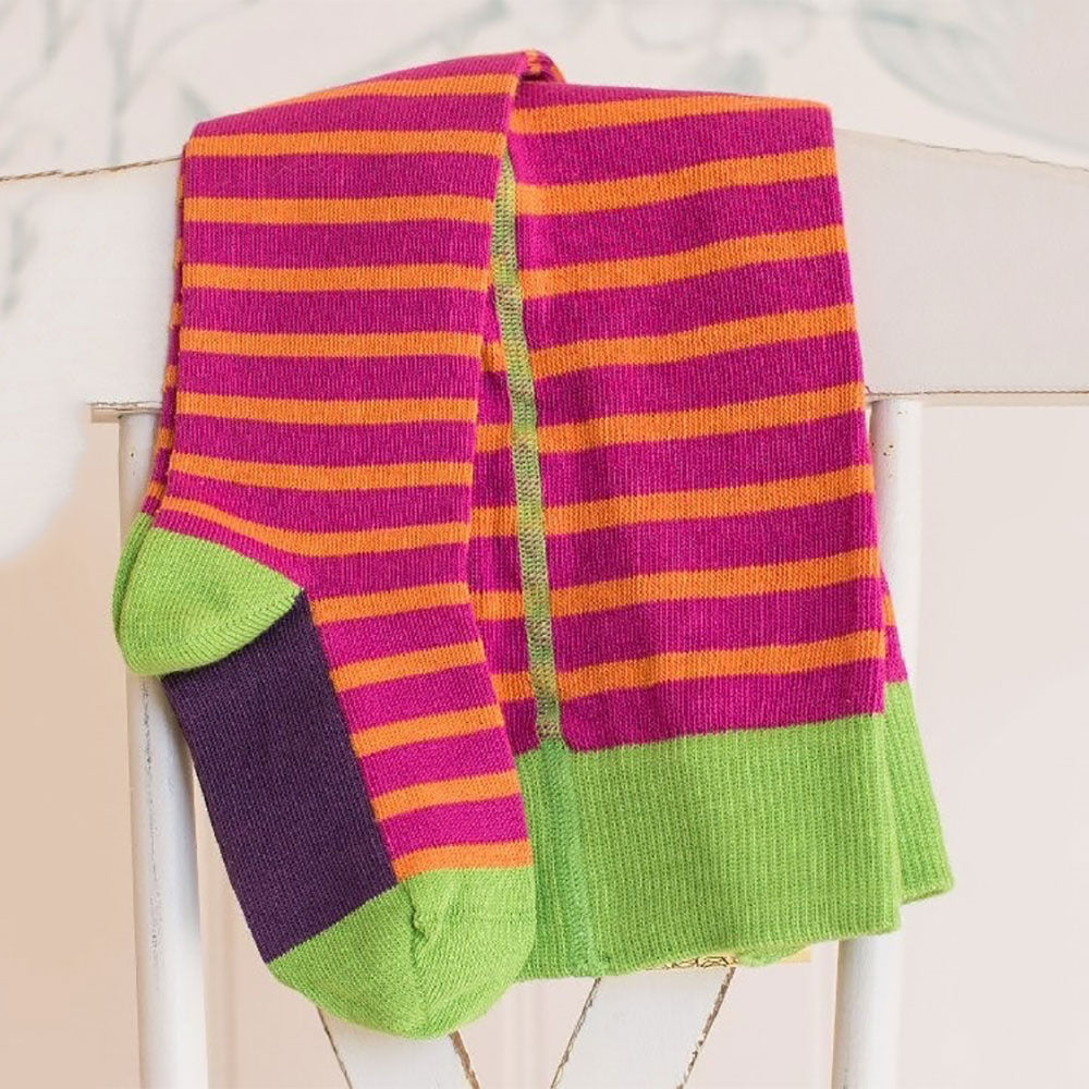Raspberry and Mandarin  98% Organic Cotton Flat Knit Striped Tights from Pure Cotton Comfort