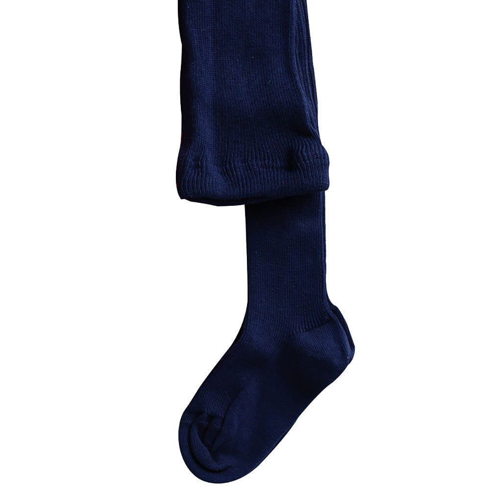 Navy Child's 100% Organic Cotton  Ribbed Tights from Pure Cotton Comfort