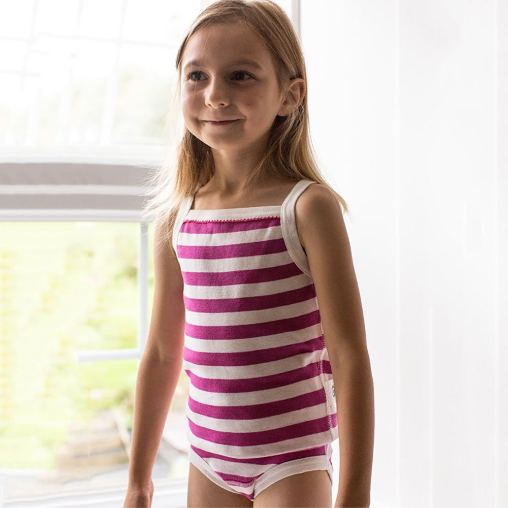 Summer Vest Top Pack Of 2 Pink Stripes from Pure Cotton Comfort