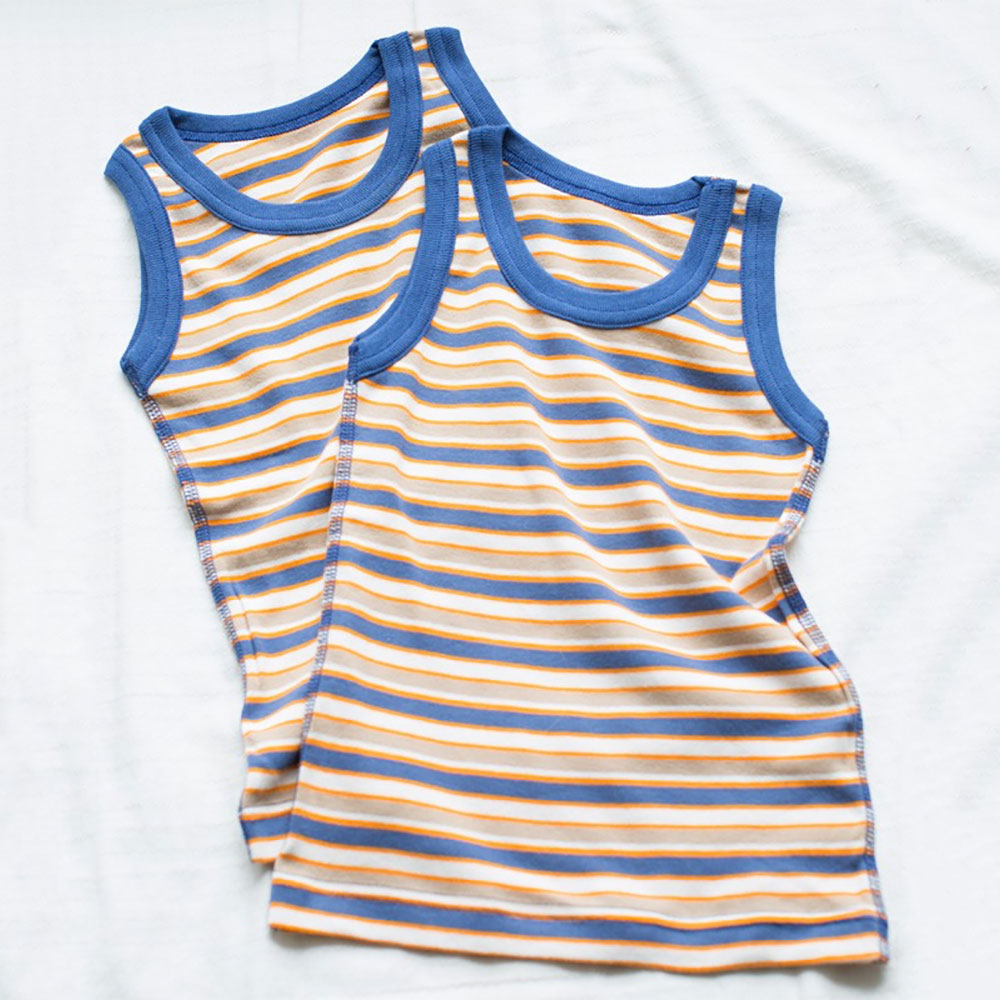 Summer Vest Top Pack Of 2 Blue Multi Stripes from Pure Cotton Comfort
