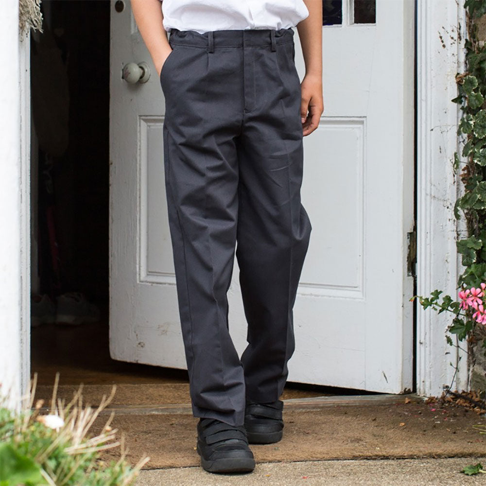 Zip Front School Trousers from Pure Cotton Comfort