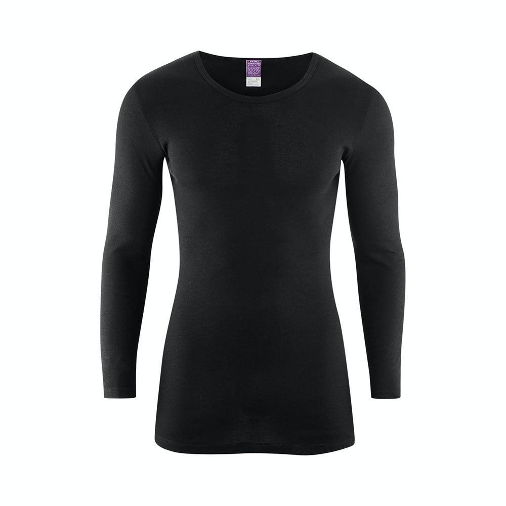 Black 100% Organic Cotton Long Sleeve Top from Pure Cotton Comfort