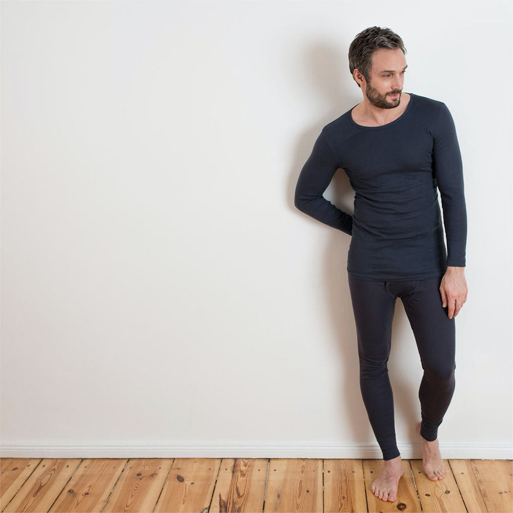Navy Graphite 100% Organic Cotton Long Sleeve Top from Pure Cotton Comfort