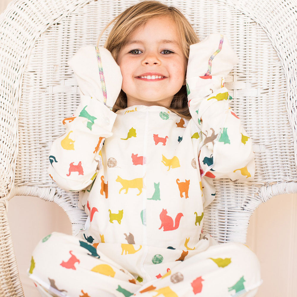 Multicolour Cats Poplin Sleepsuit from Pure Cotton Comfort