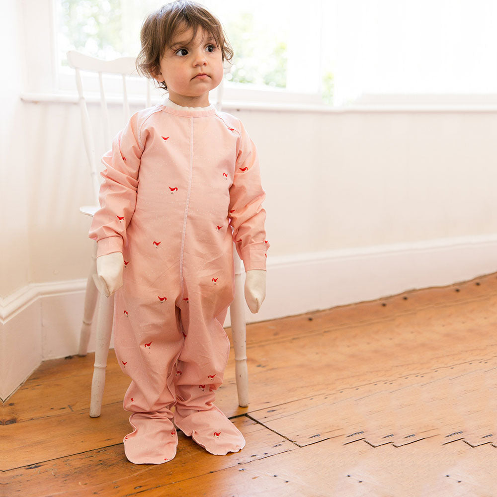 Pink Birds Poplin Sleepsuit from Pure Cotton Comfort