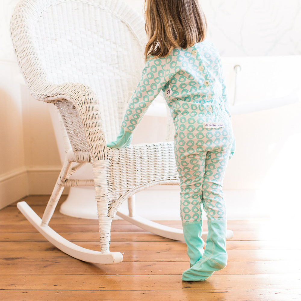 Eczema Scratch Mitten PJ Eco-Organic Bird Print from Pure Cotton Comfort