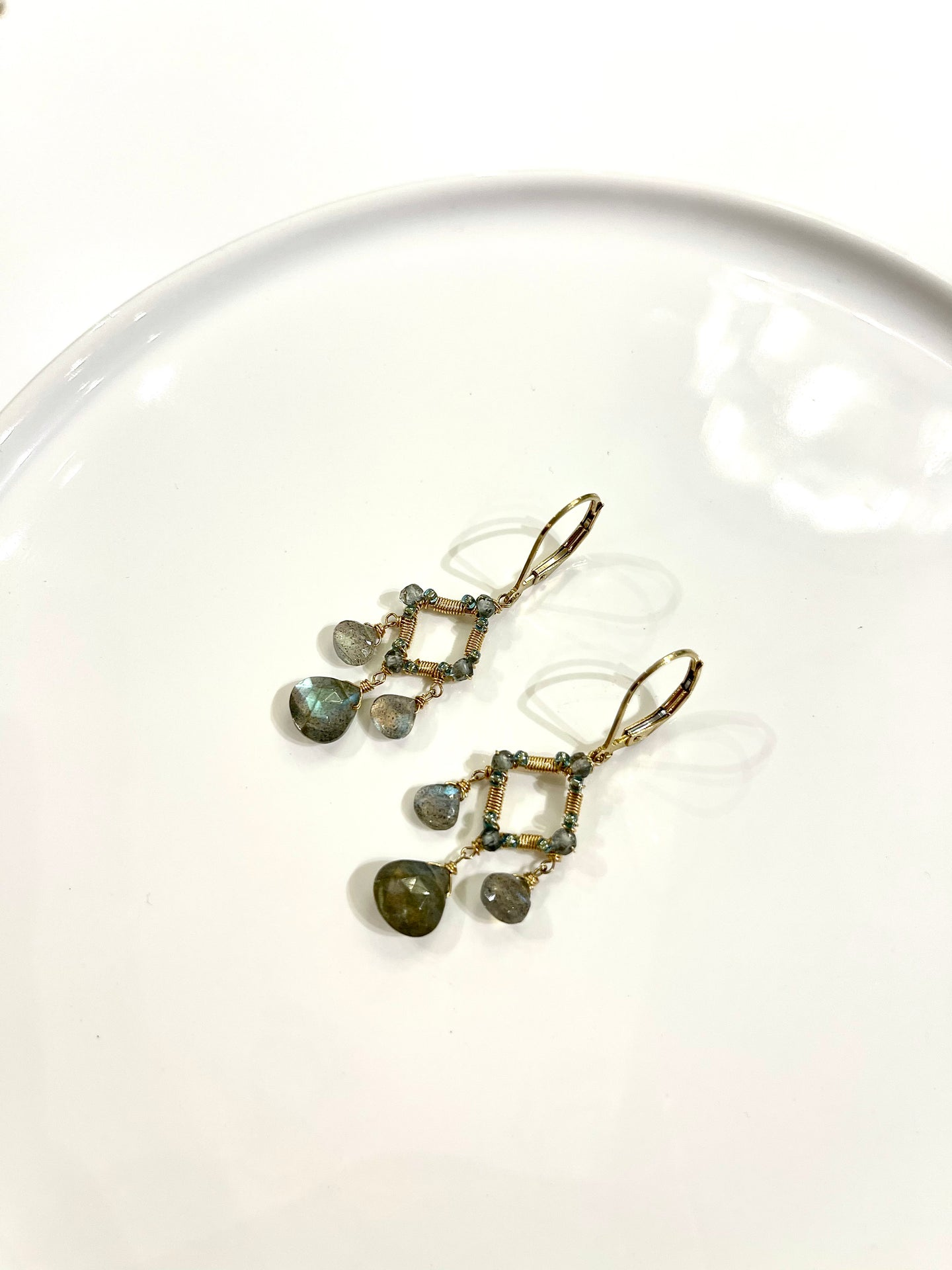 Labradorite Diamond Shape Earrings