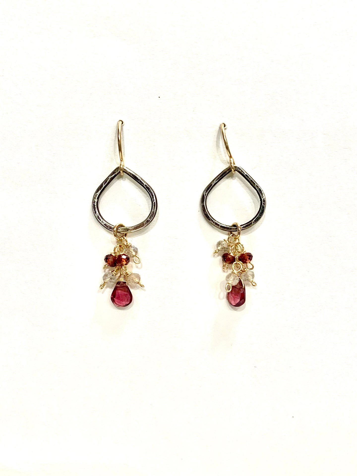 Garnet & Labradorite Dangle Earrings