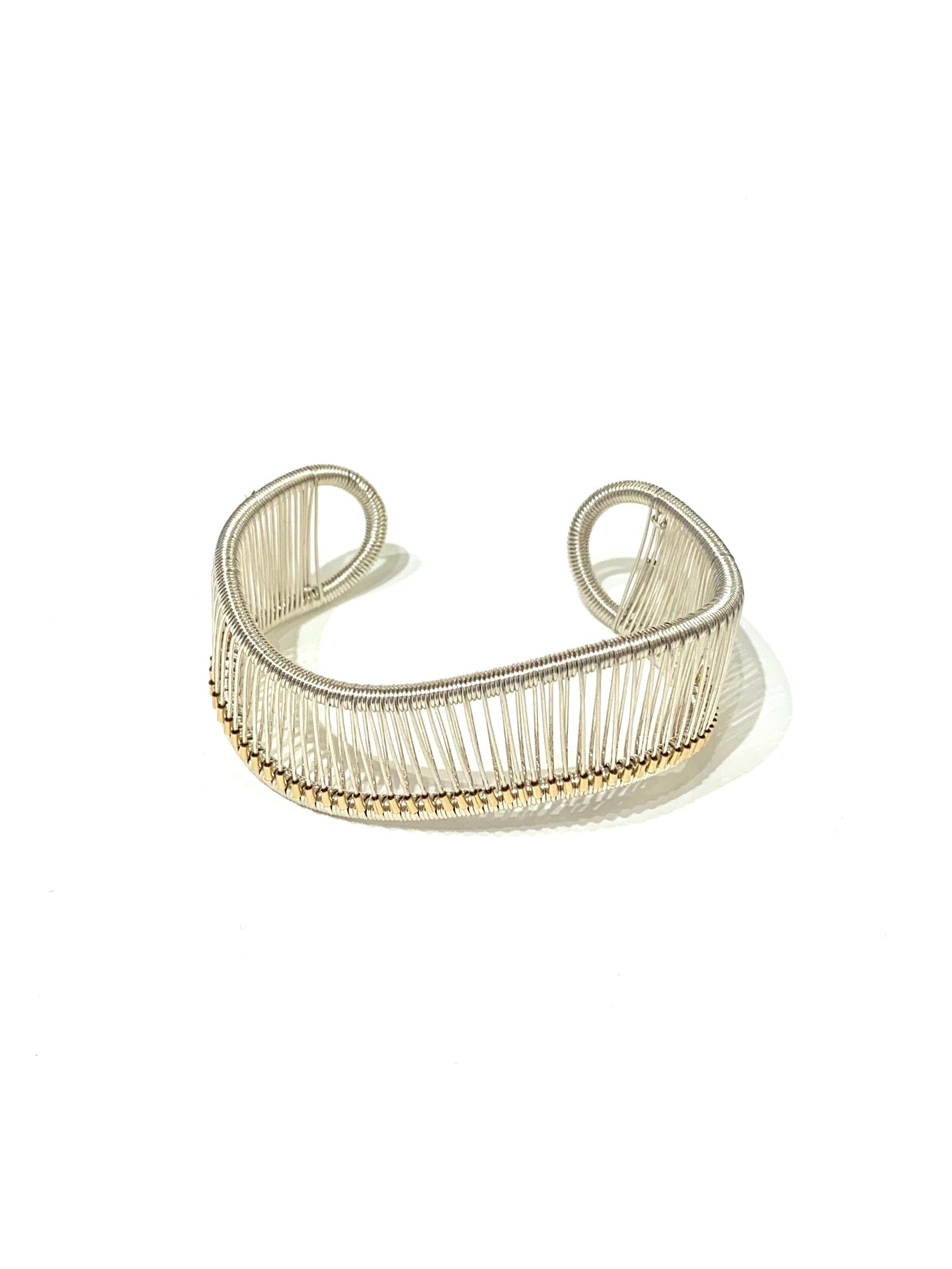 Gold Beaded Wave Cuff Bracelet