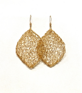 Large Crocheted Leaf Earrings