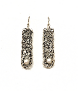 Crocheted Rectangular Earrings