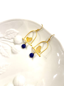 Lapis Bird Swing Earrings