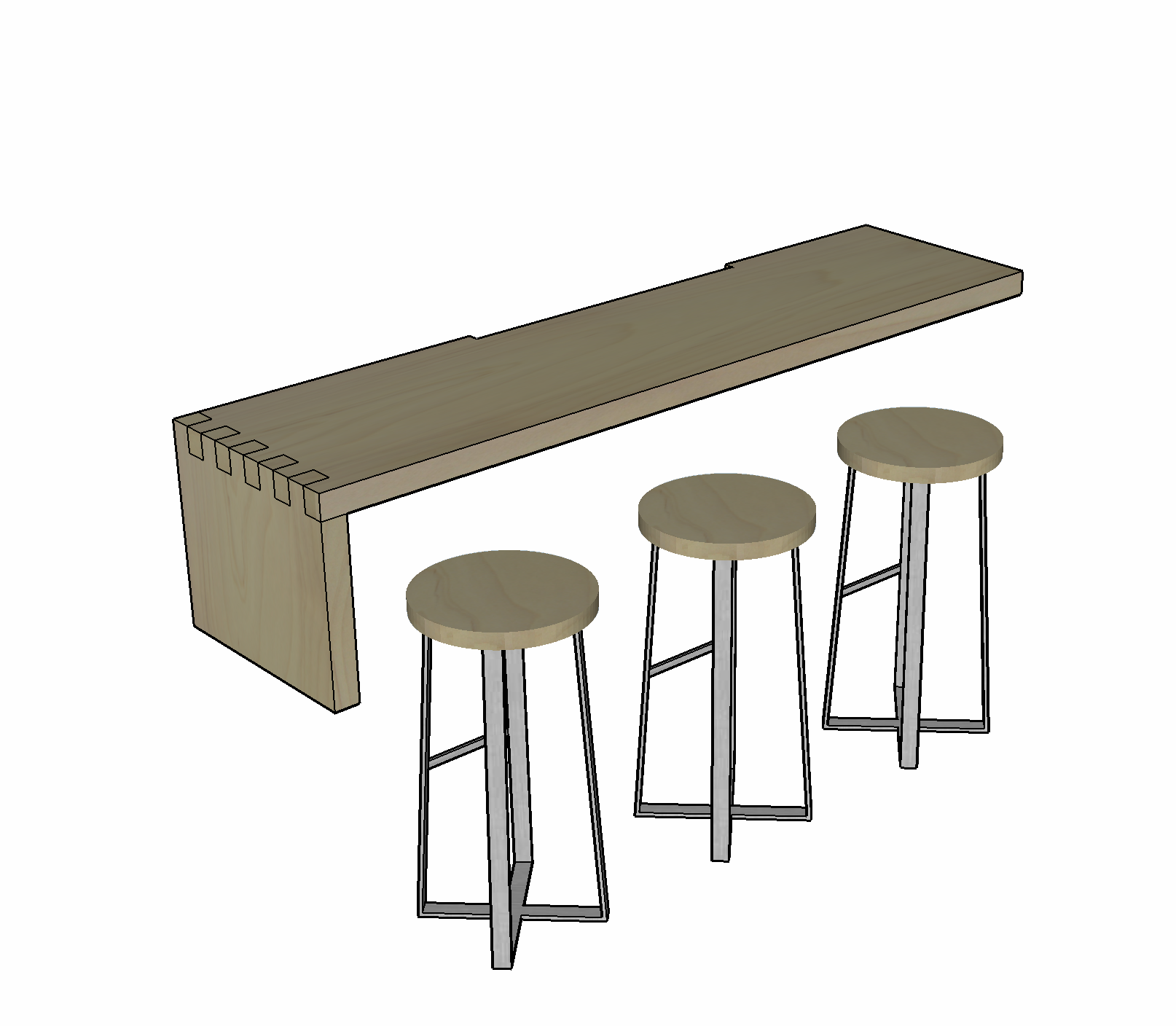 Custom Wall-Mounted Bar