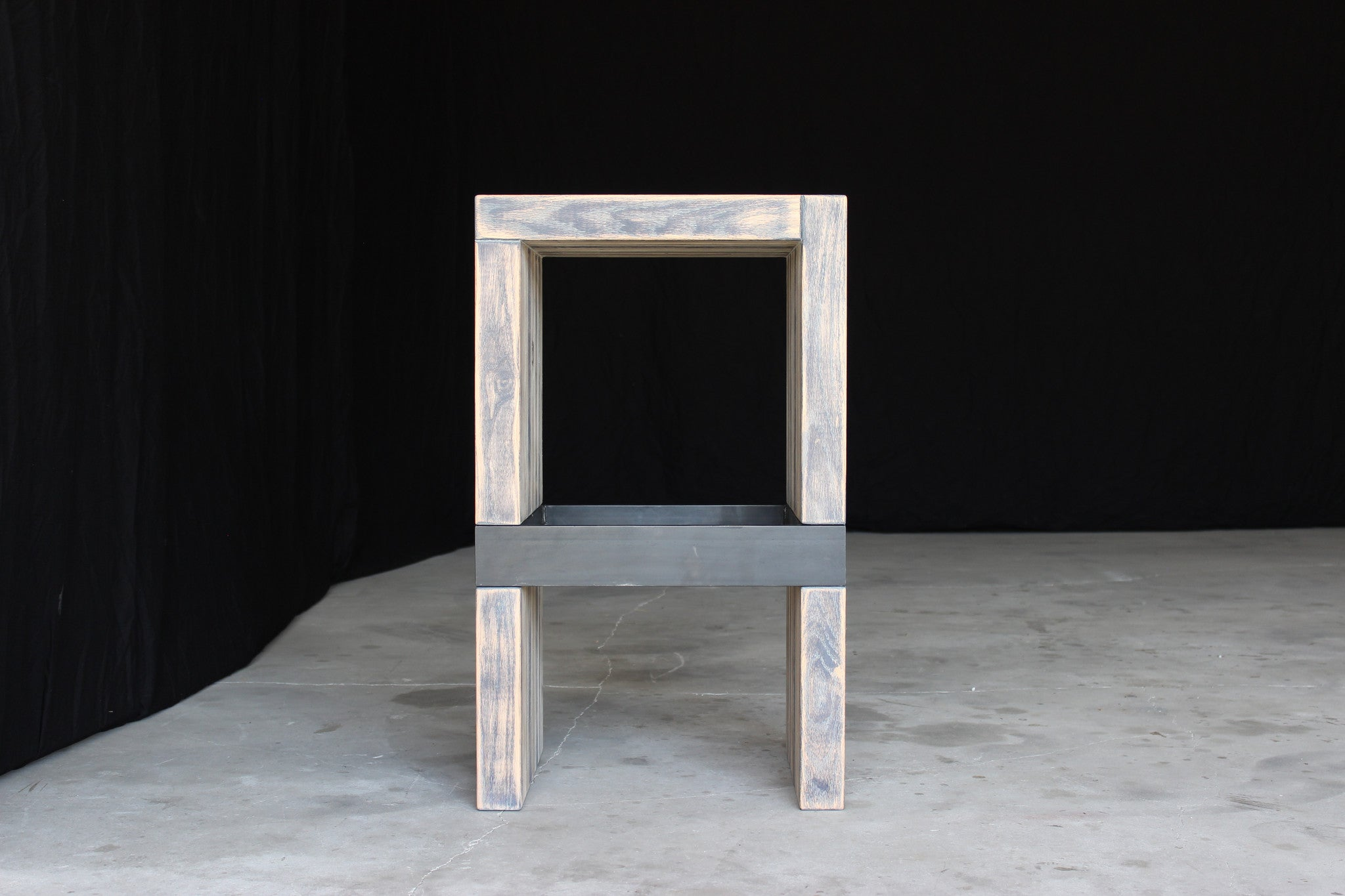 bento bar stool | aged wood finish with waxed steel