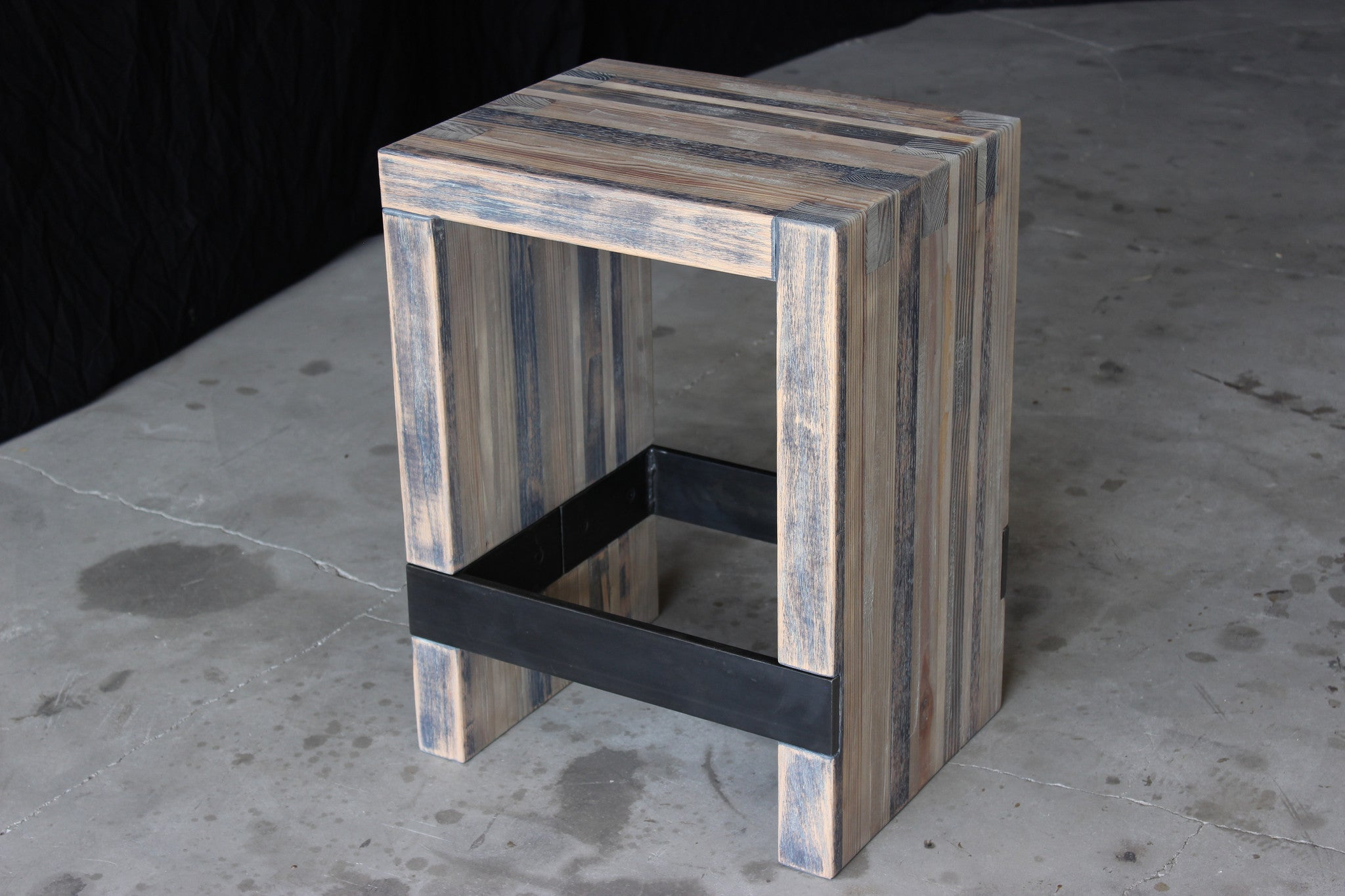bento counter stool | aged wood finish with waxed steel