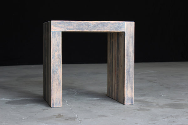 bento stool | aged wood finish