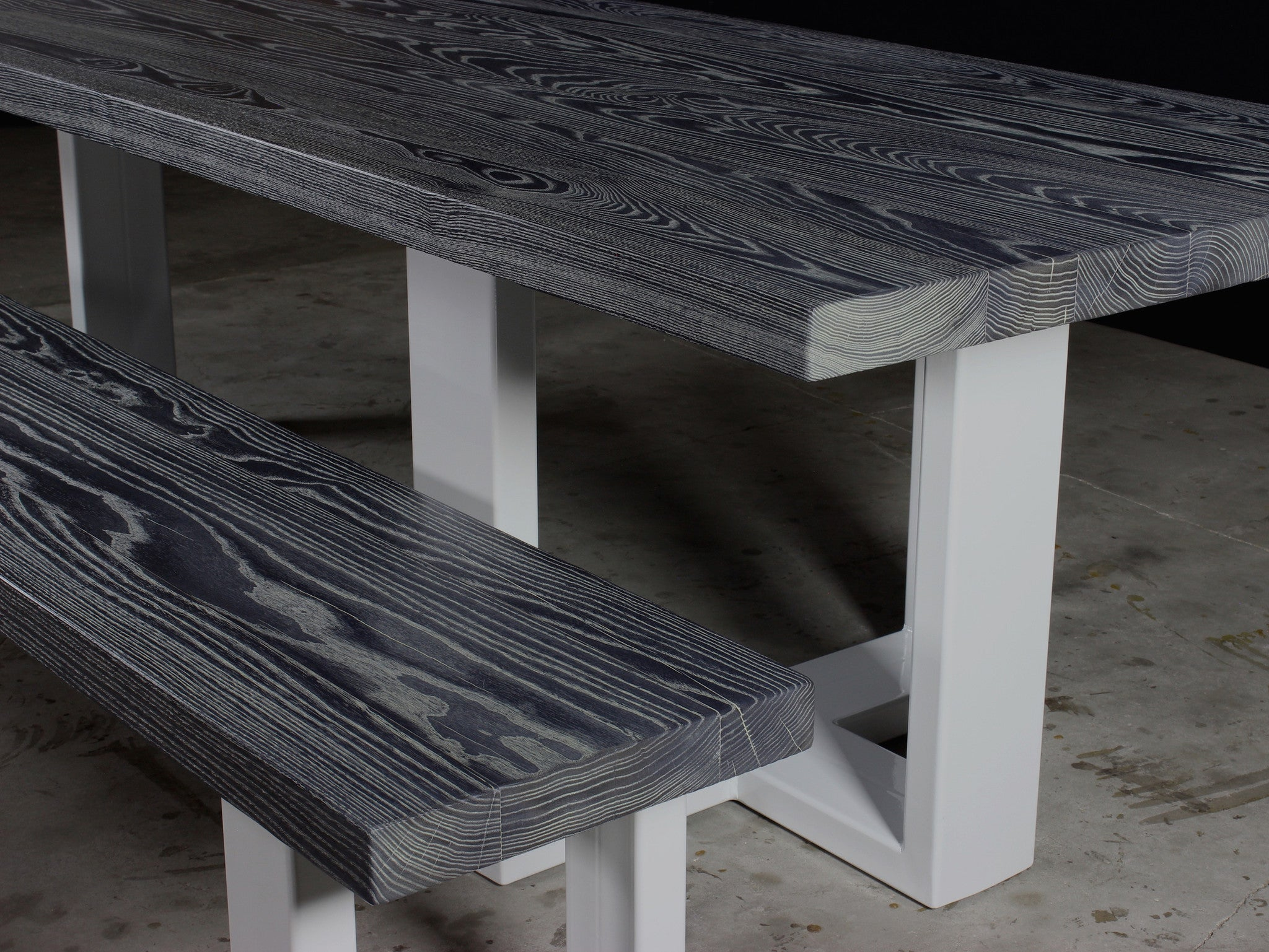 concord dining table | charred ash wood finish with white powder coated steel