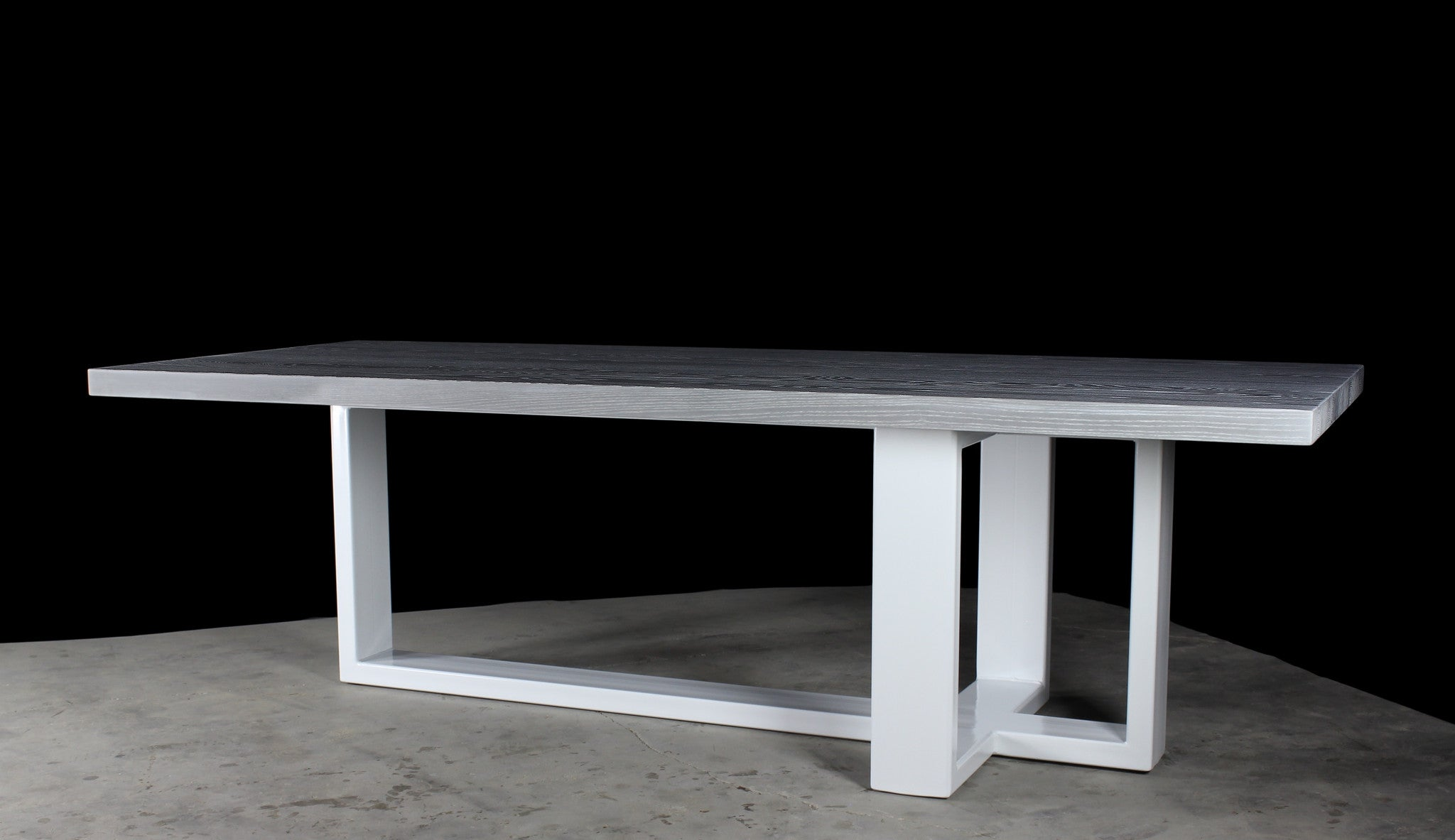 concord dining table | dusted ash* wood finish with gloss white steel