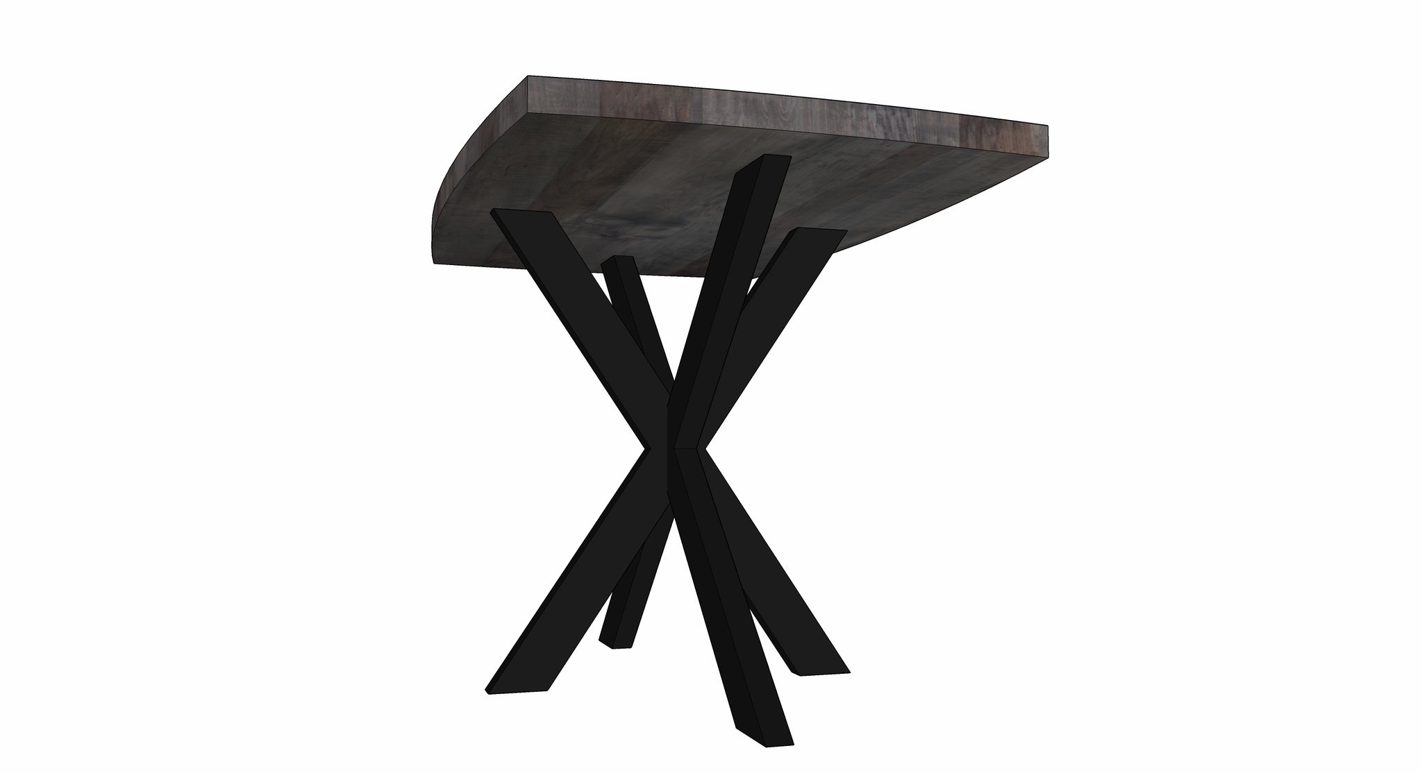 custom jak bar table | worn maple with matte black powder coated steel base