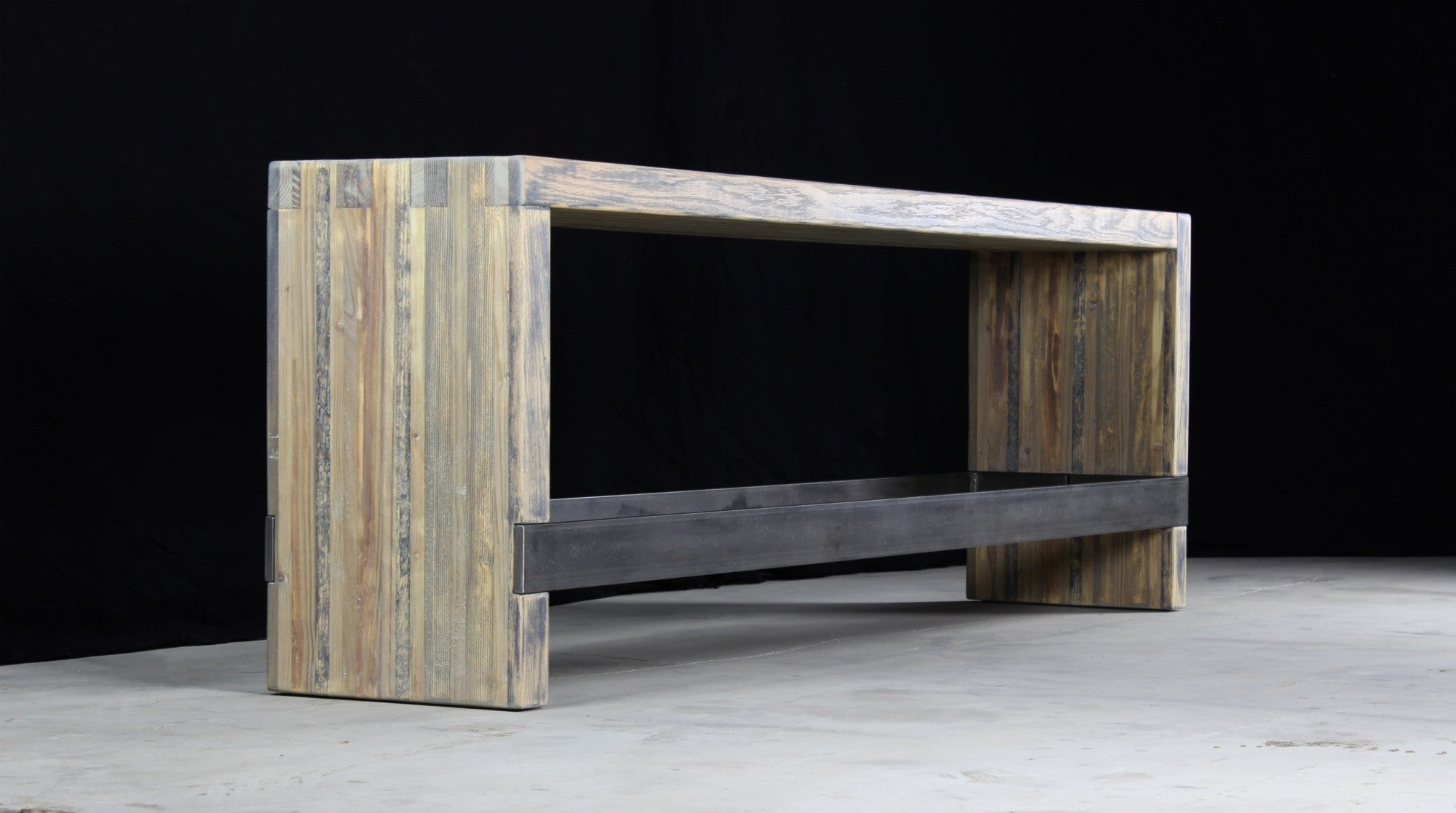 bento counter bench | aged wood | darkened steel