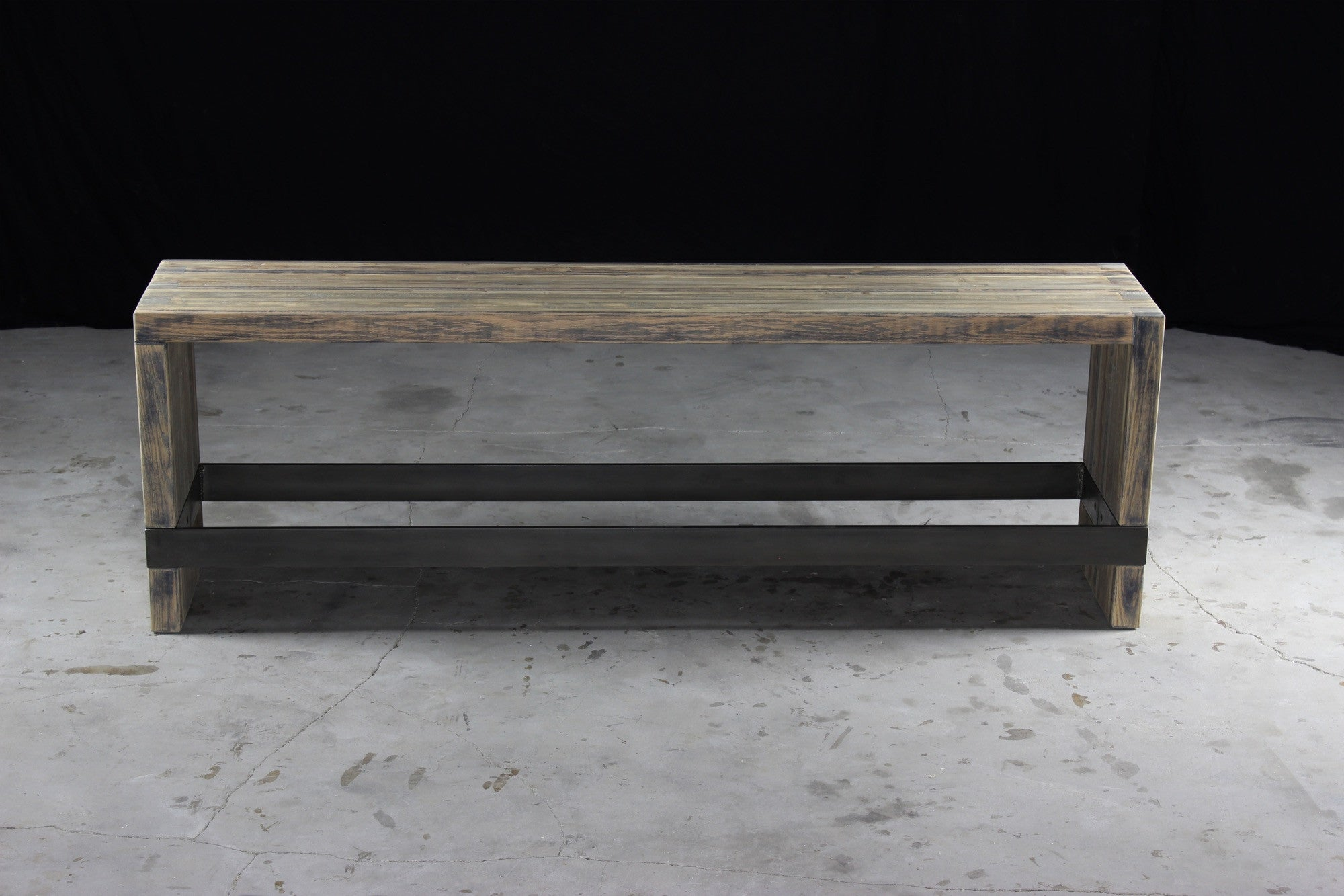 bento bar bench | aged wood | darkened steel