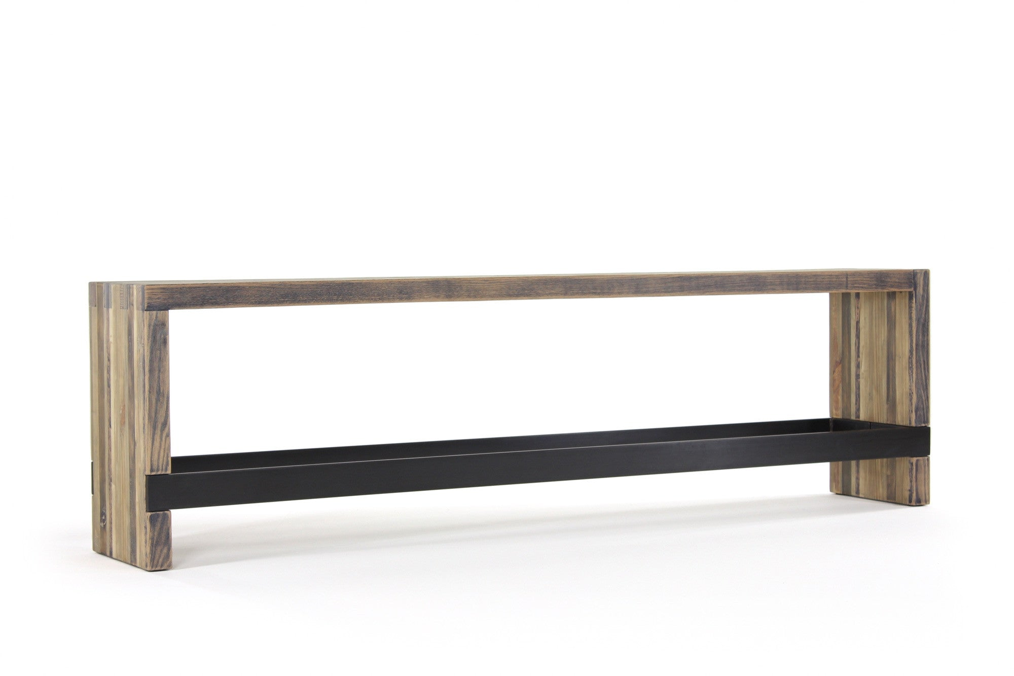 bento counter bench | aged wood finish with waxed steel
