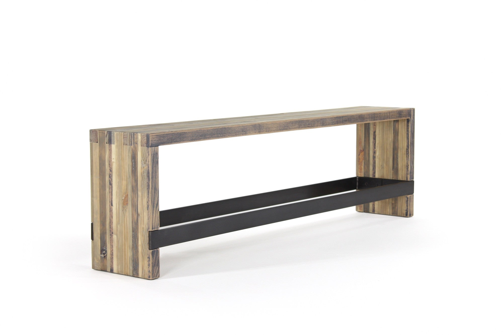 bento bar bench | aged wood finish with waxed steel