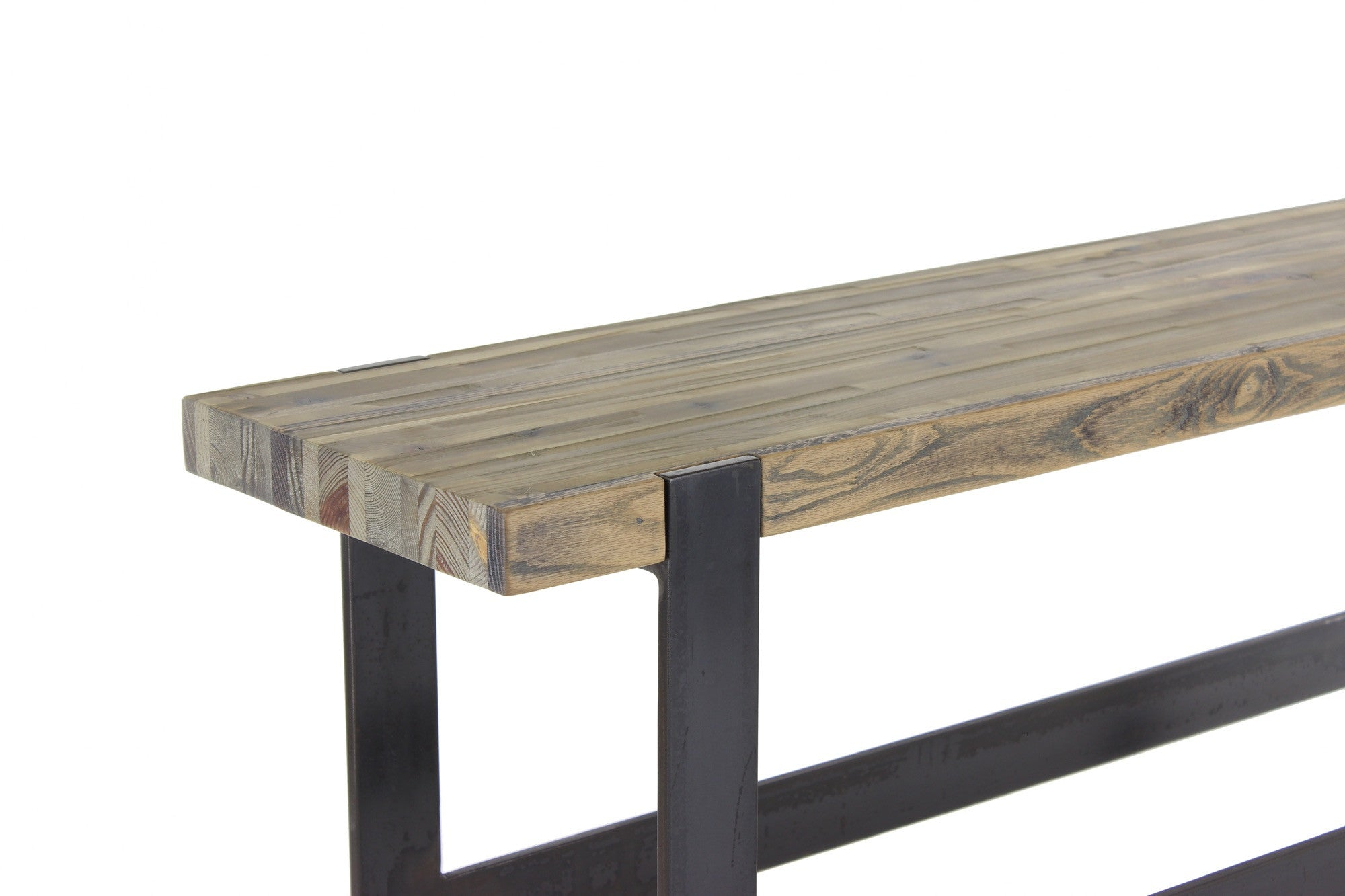 original bar bench | aged distressed wood finish with waxed steel