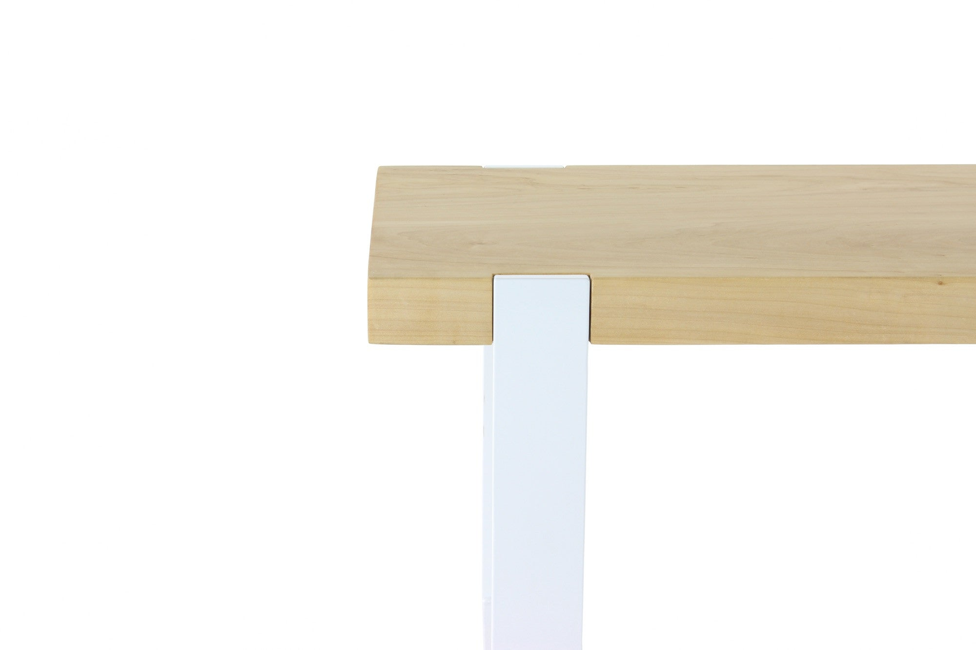 original bench | natural maple wood finish with gloss white steel