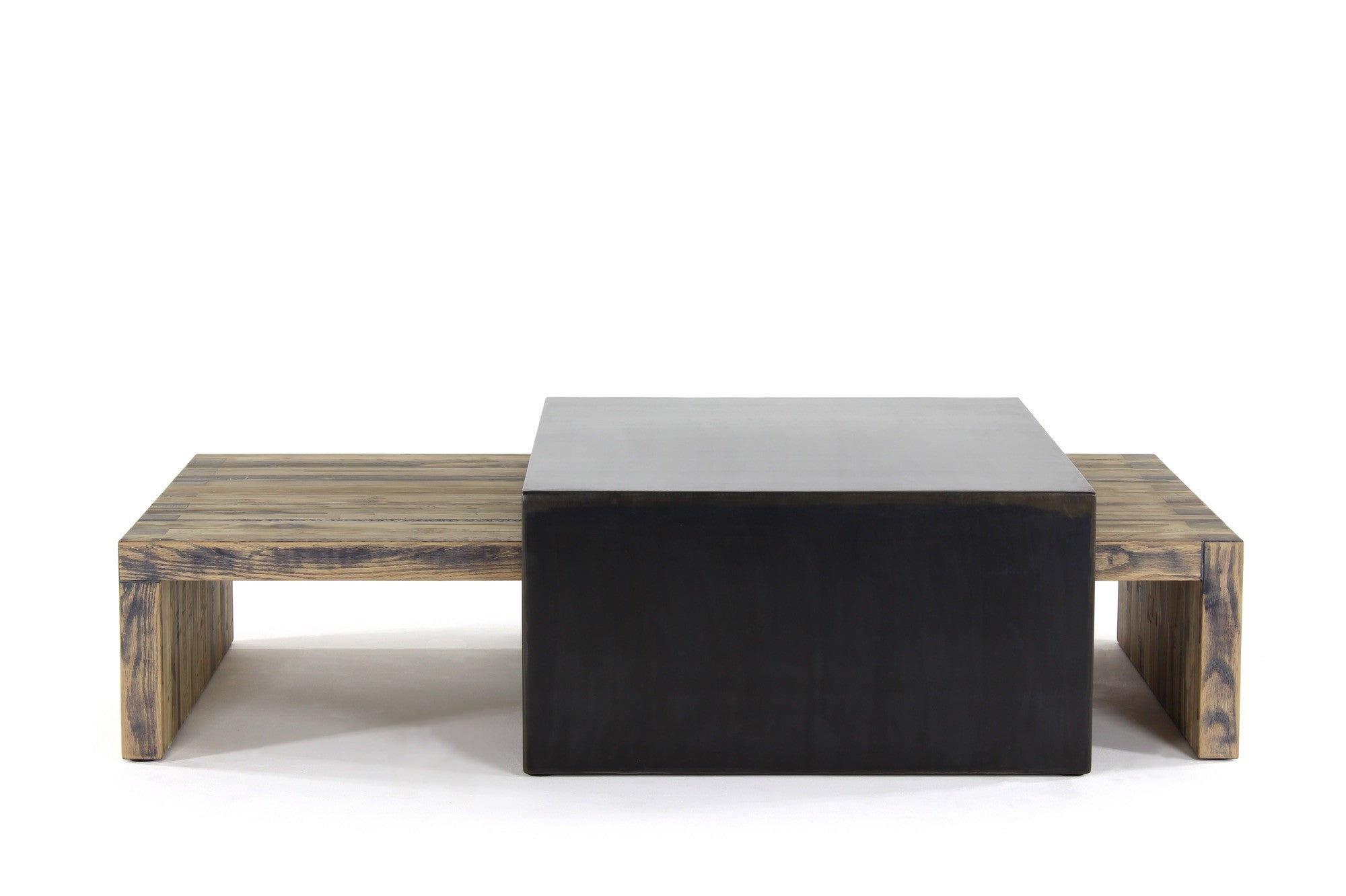 bento coffee table (large set) | aged wood with waxed steel