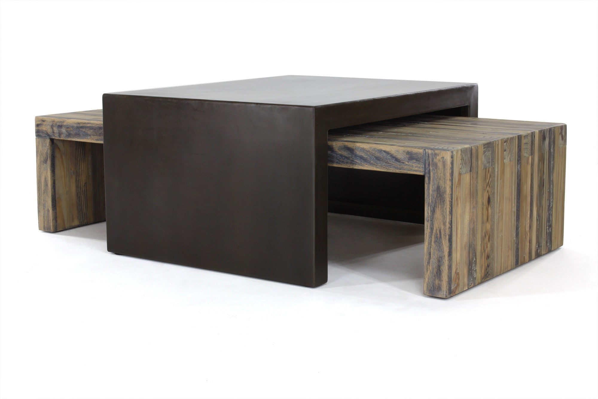 industrial modern nesting coffee tables  seventeen - bento coffee table (small set)  aged wood with waxed steel