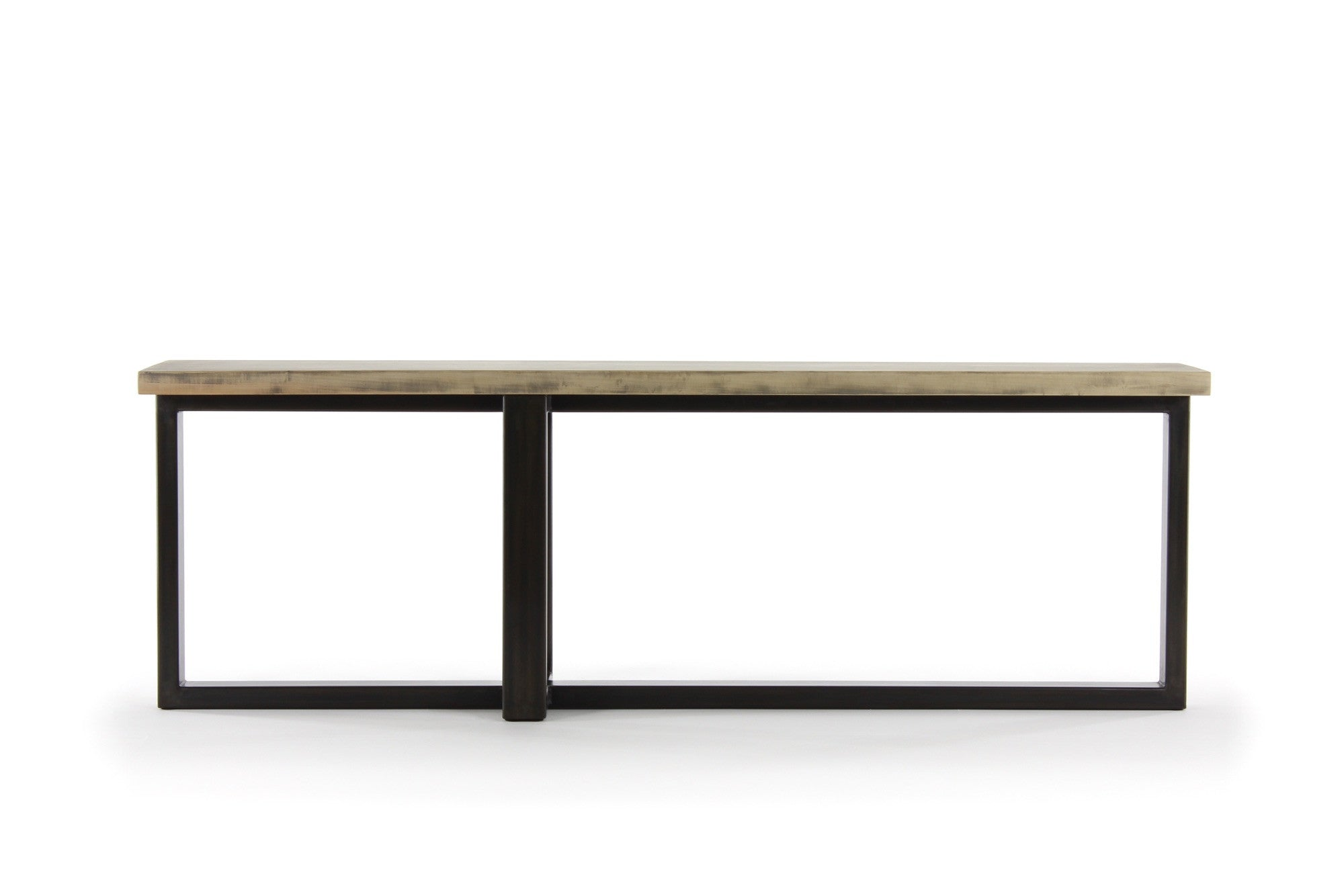 8' concord console table | worn maple wood finish with waxed steel