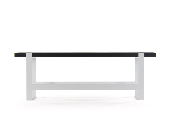 original counter bench | volcanic ash wood finish with gloss white steel