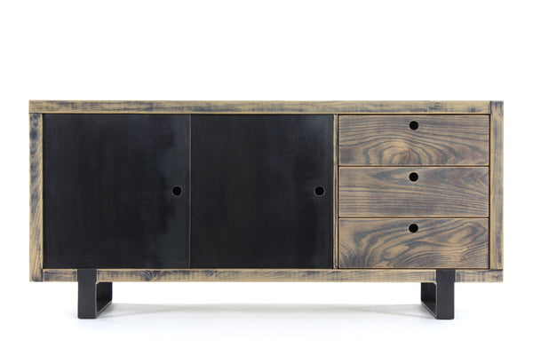 the cupboard | aged wood finish with waxed steel