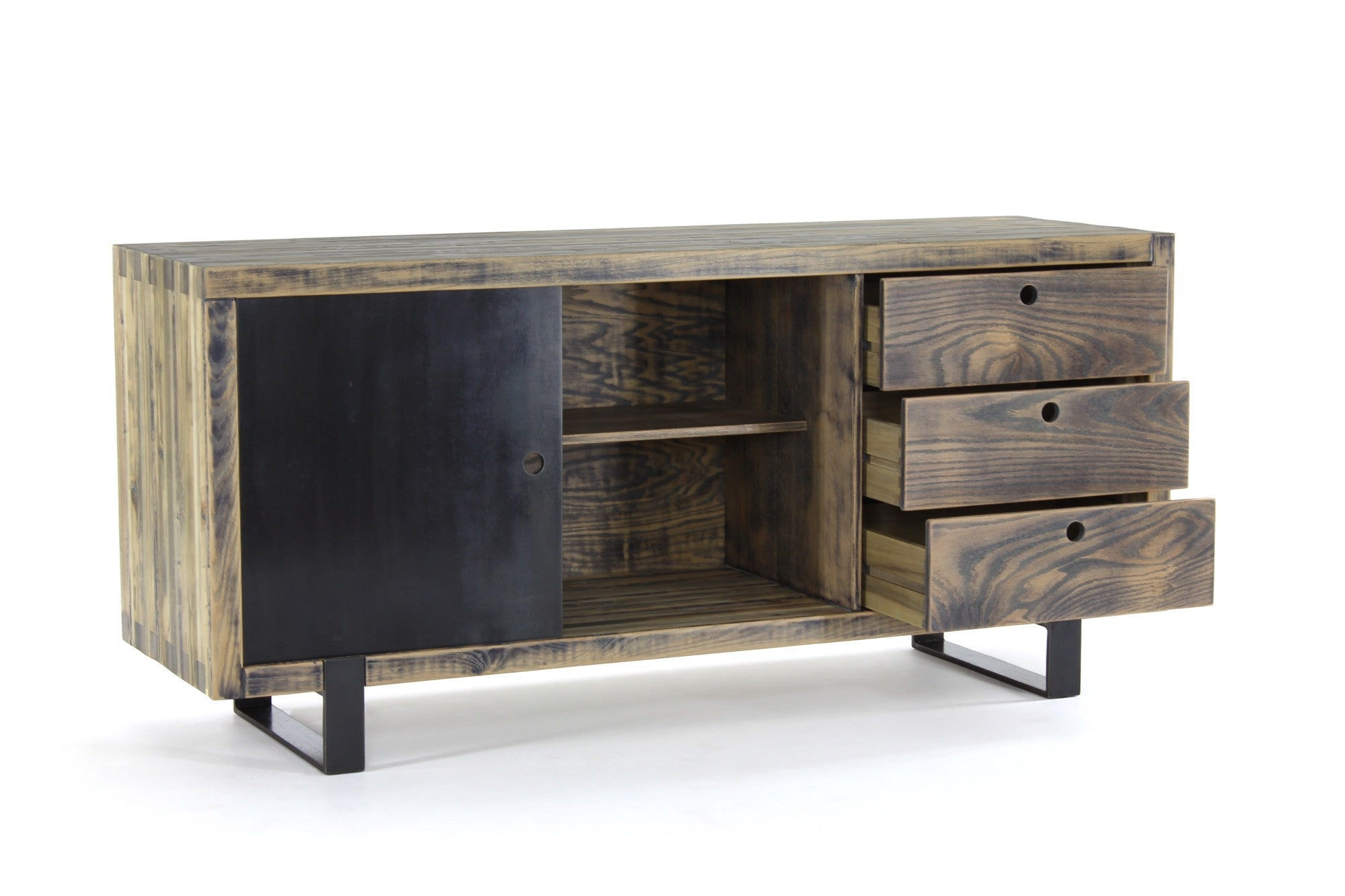 the cupboard | aged wood finish with darkened steel