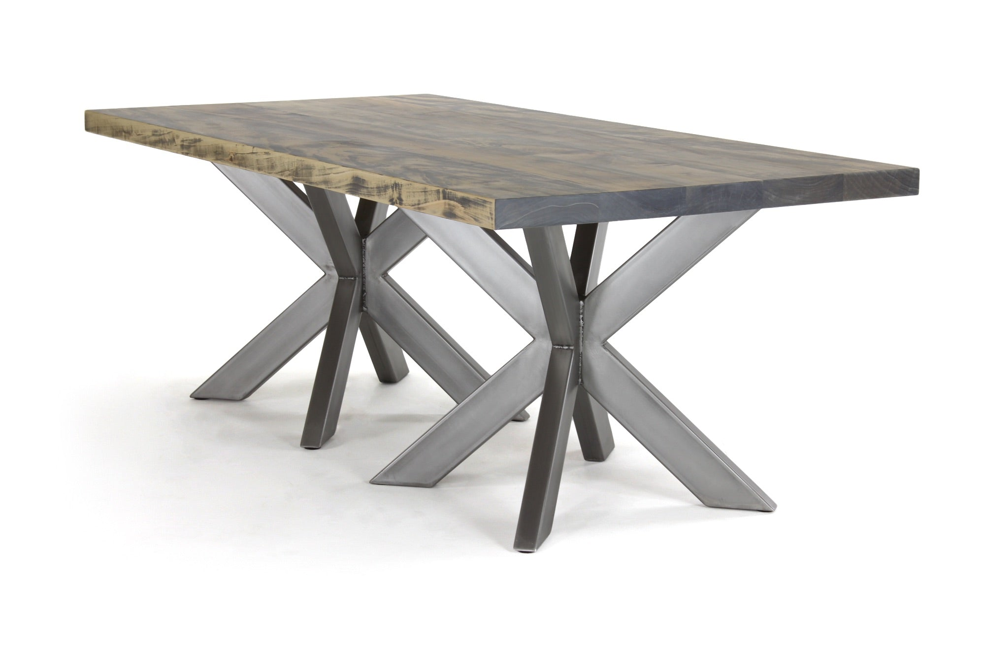 double jak dining table | worn maple wood finish with stainless steel
