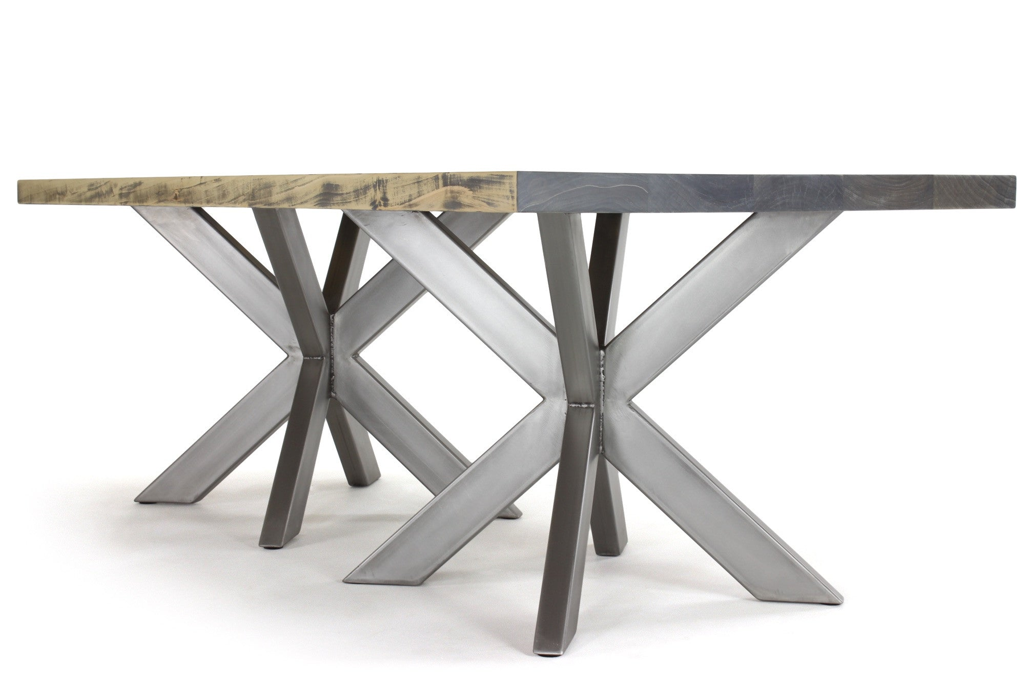 7' double jak dining table | worn maple wood finish with stainless steel