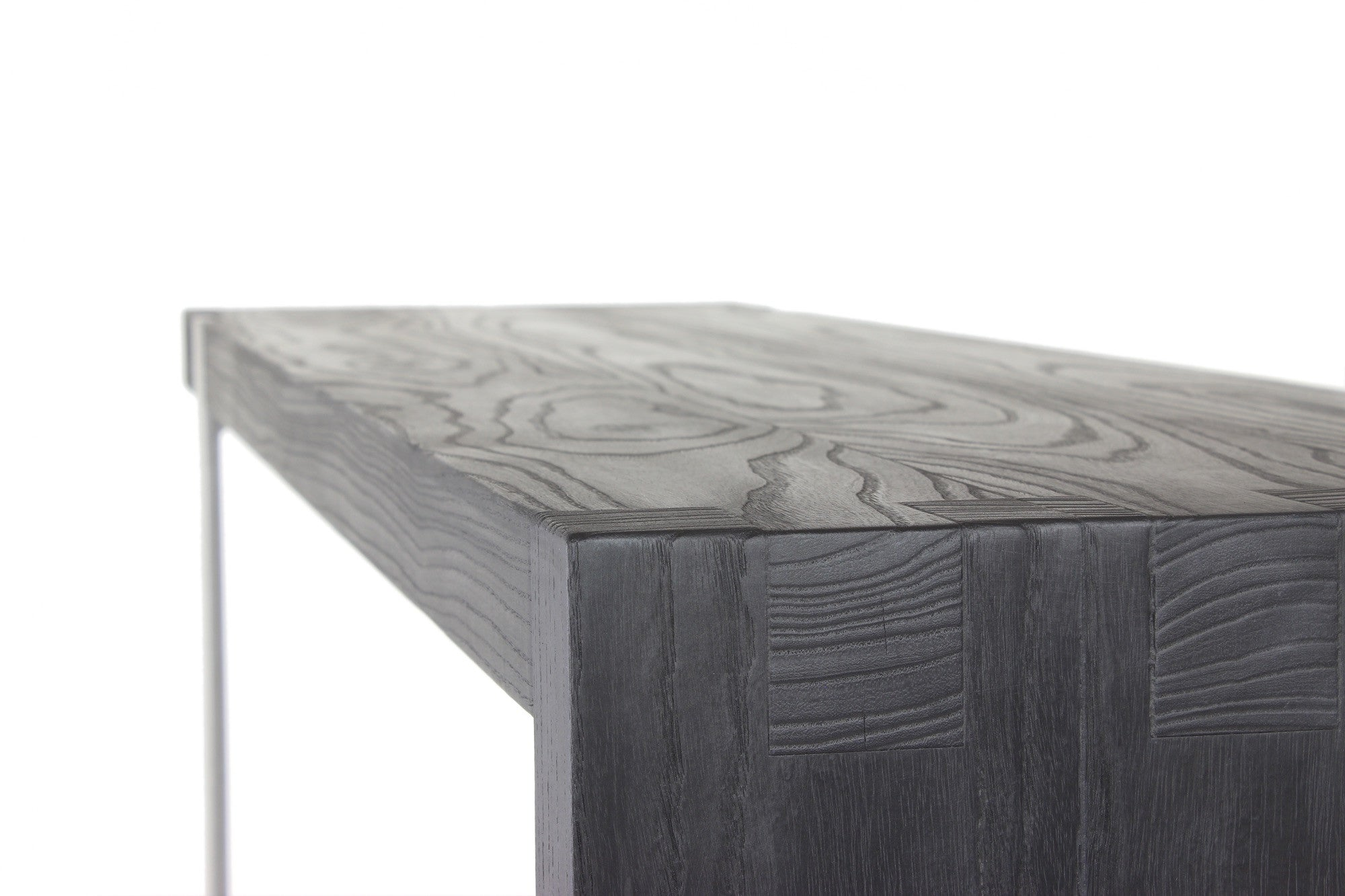 5' entry table | volcanic ash wood finish with stainless steel