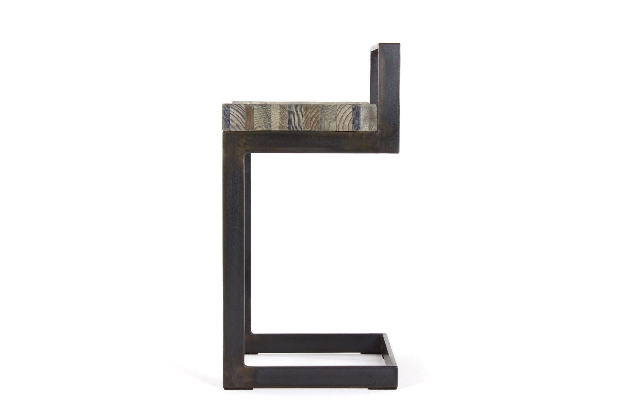 highline counter stool | aged wood finish with waxed steel