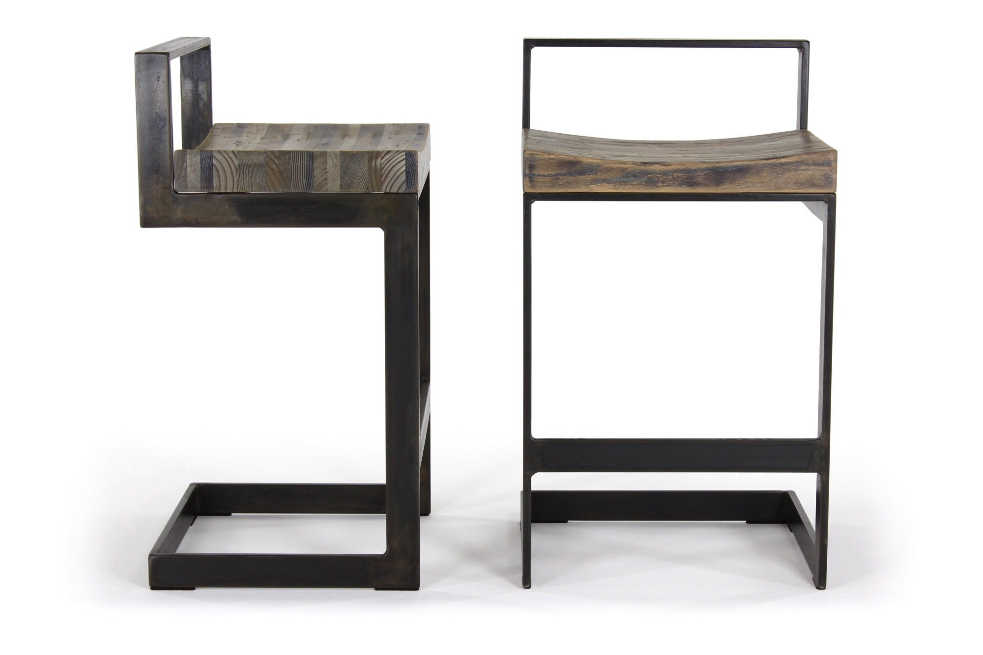 the highline counter stool | aged multi-species wood finish with waxed steel