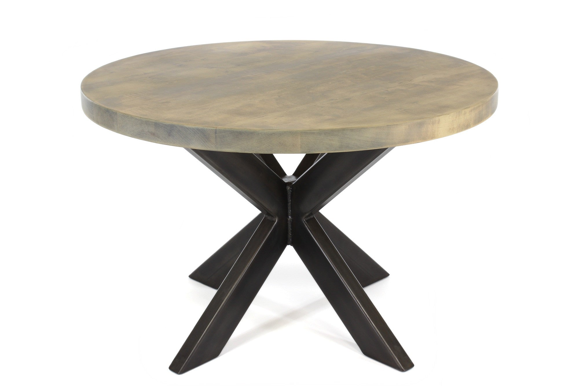 jak dining table | worn maple wood finish with darkened steel