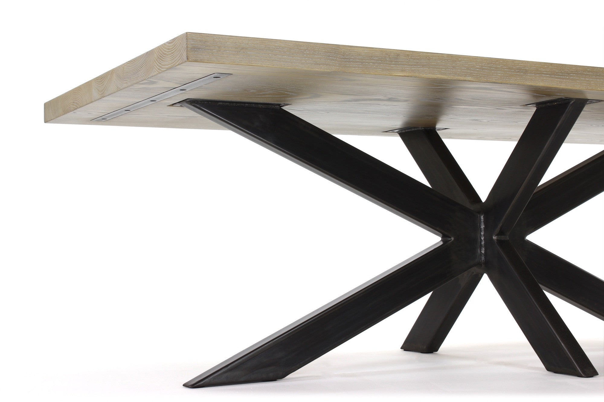 6' long jak dining table | cerused ash wood finish with waxed steel