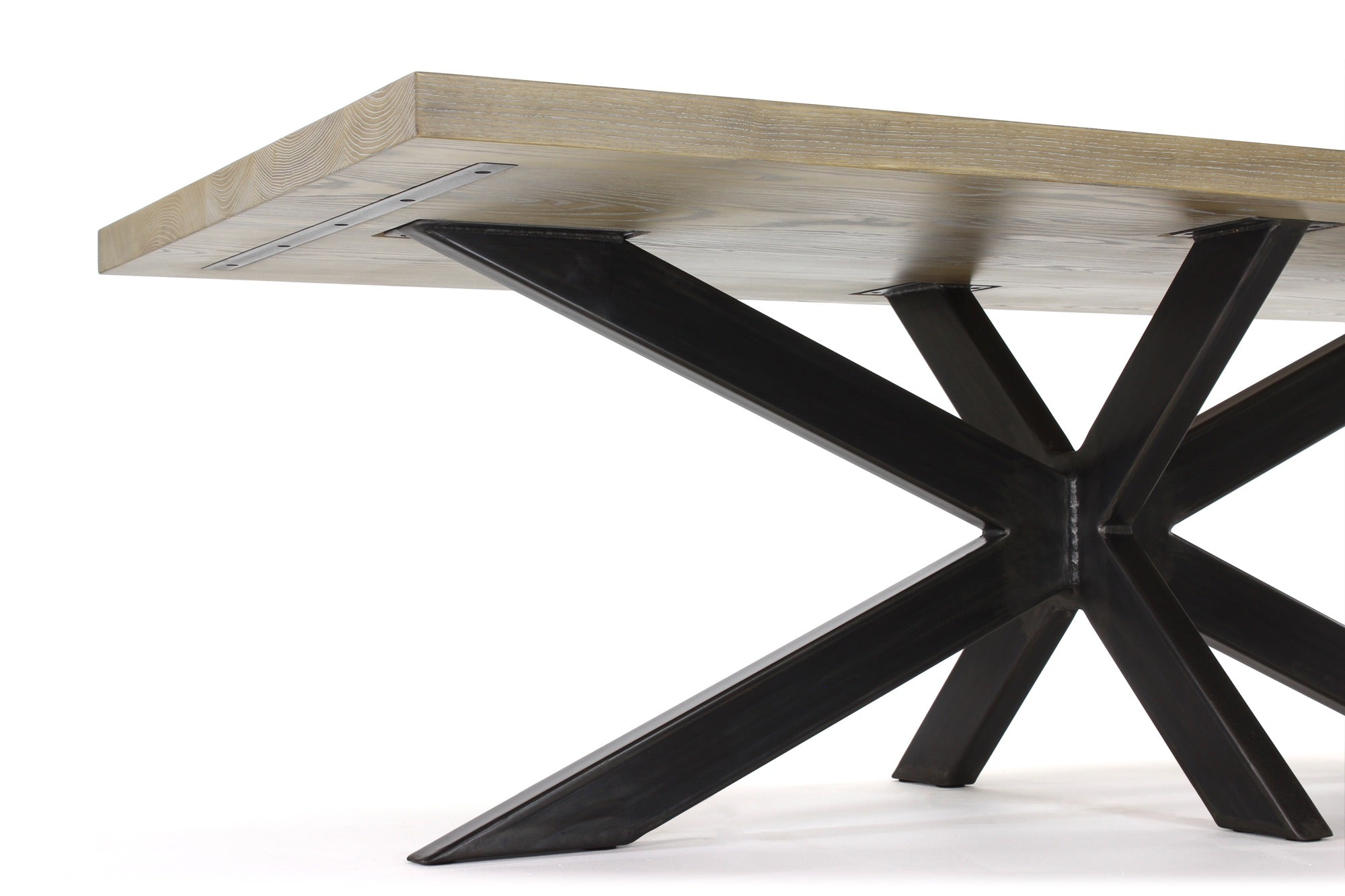 long jak dining table | cerused ash with waxed steel