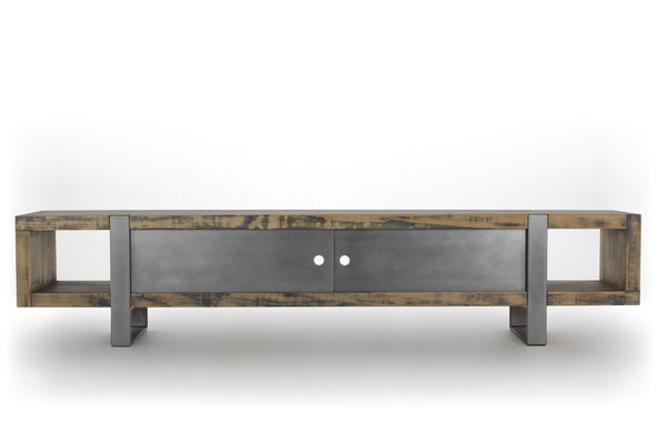 8' media console | worn maple wood finish with stainless steel