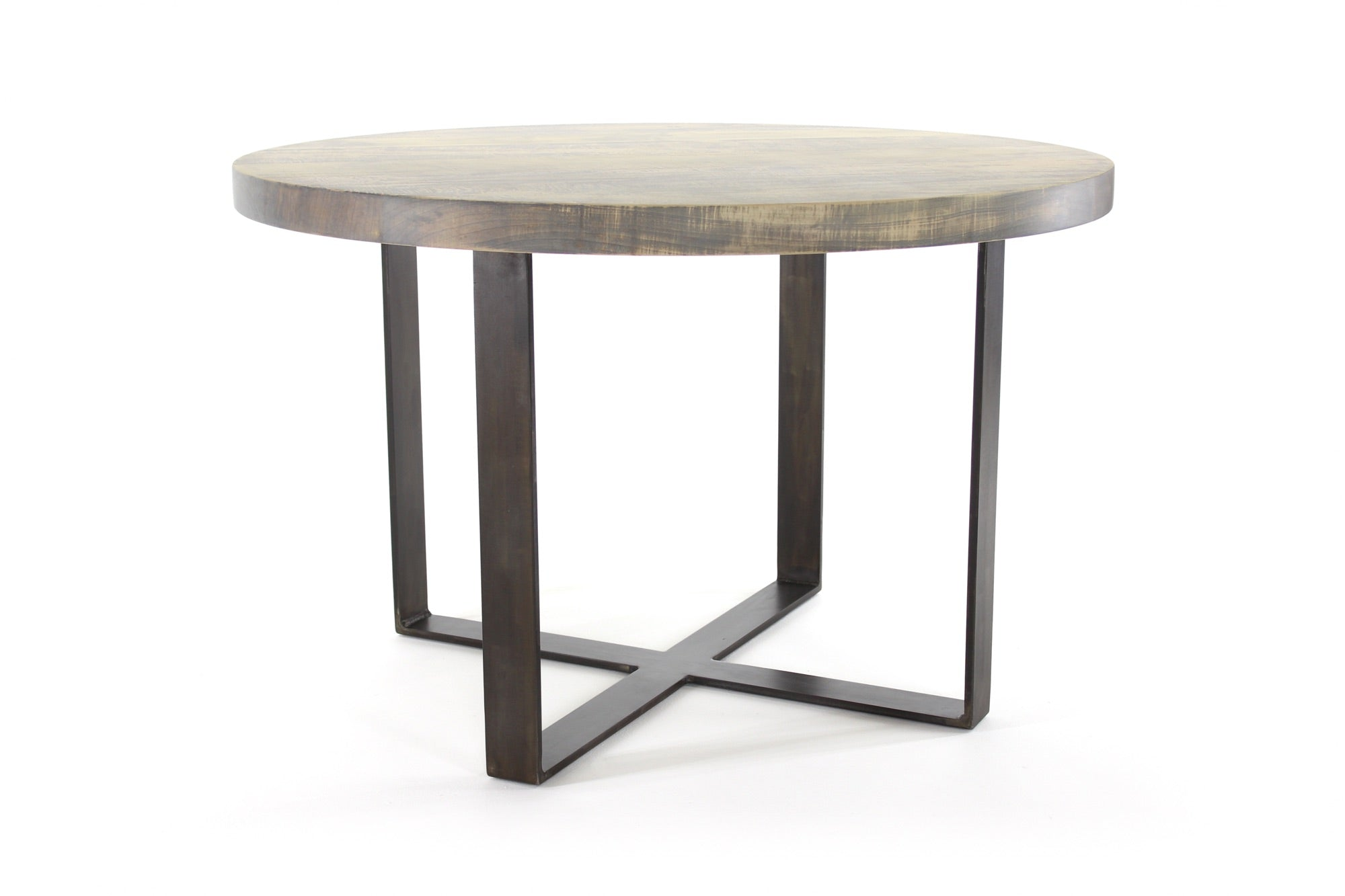 the molly dining table | worn maple wood finish with waxed steel