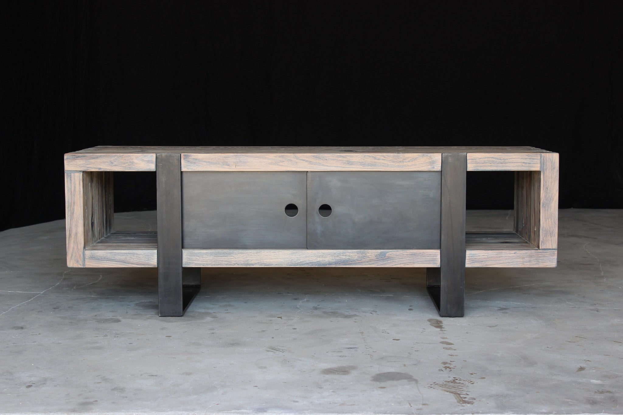 5' media console | aged wood finish with waxed steel