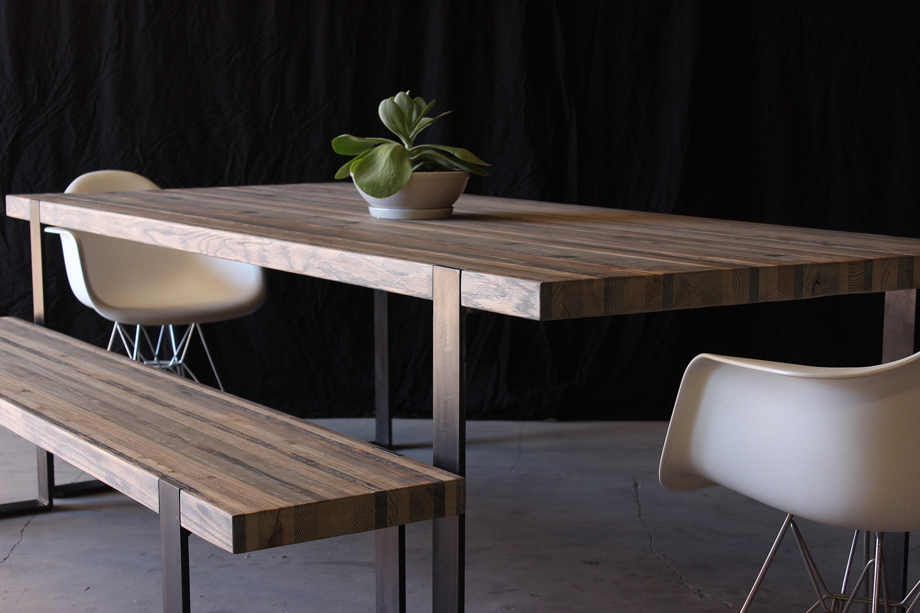 8' original dining table | aged wood finish with darkened steel