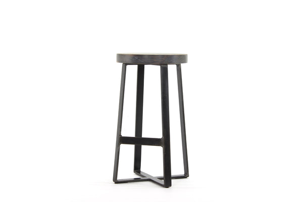 the molly counter stool | worn maple wood finish with waxed steel