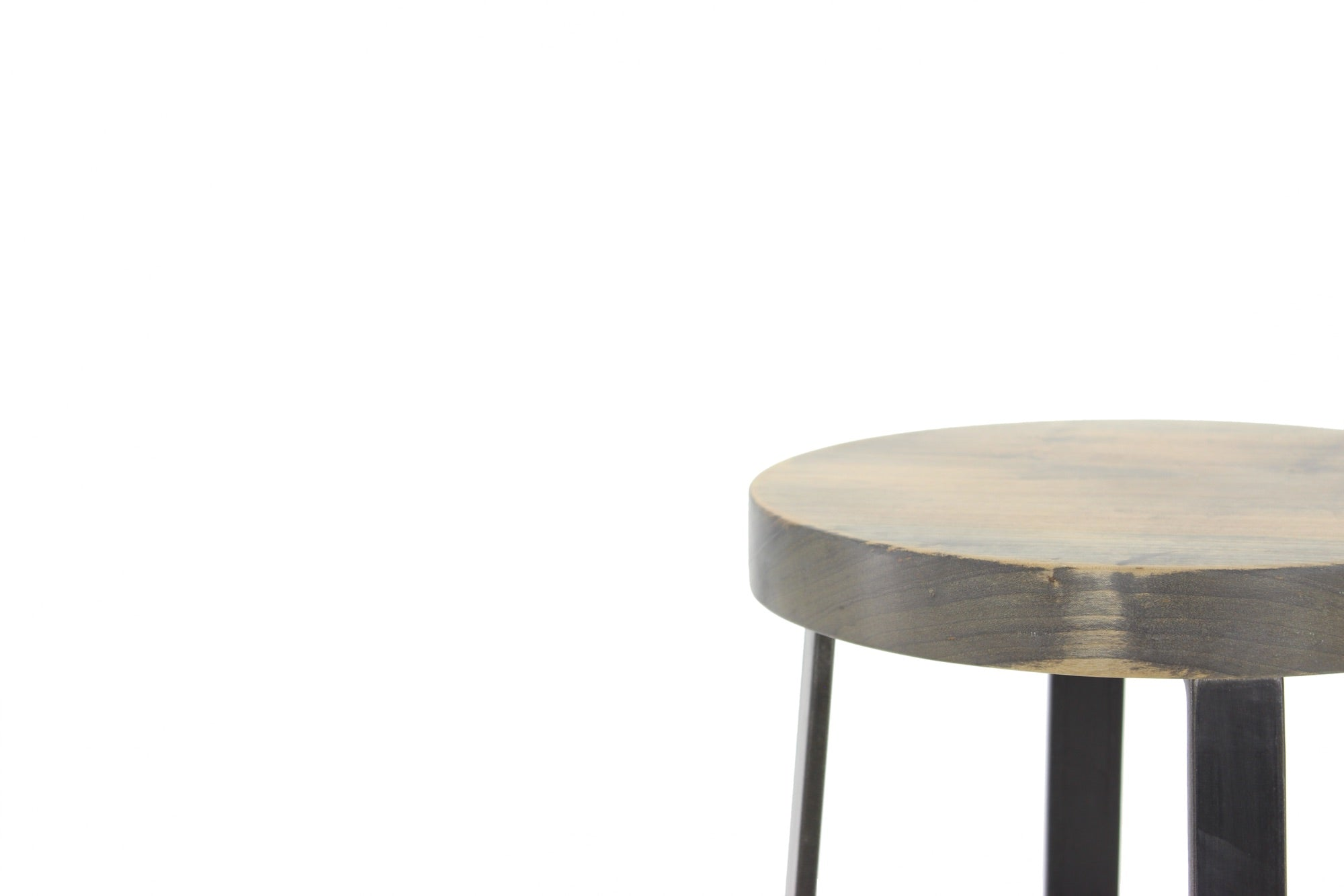 the molly bar stool | worn maple wood finish with waxed steel