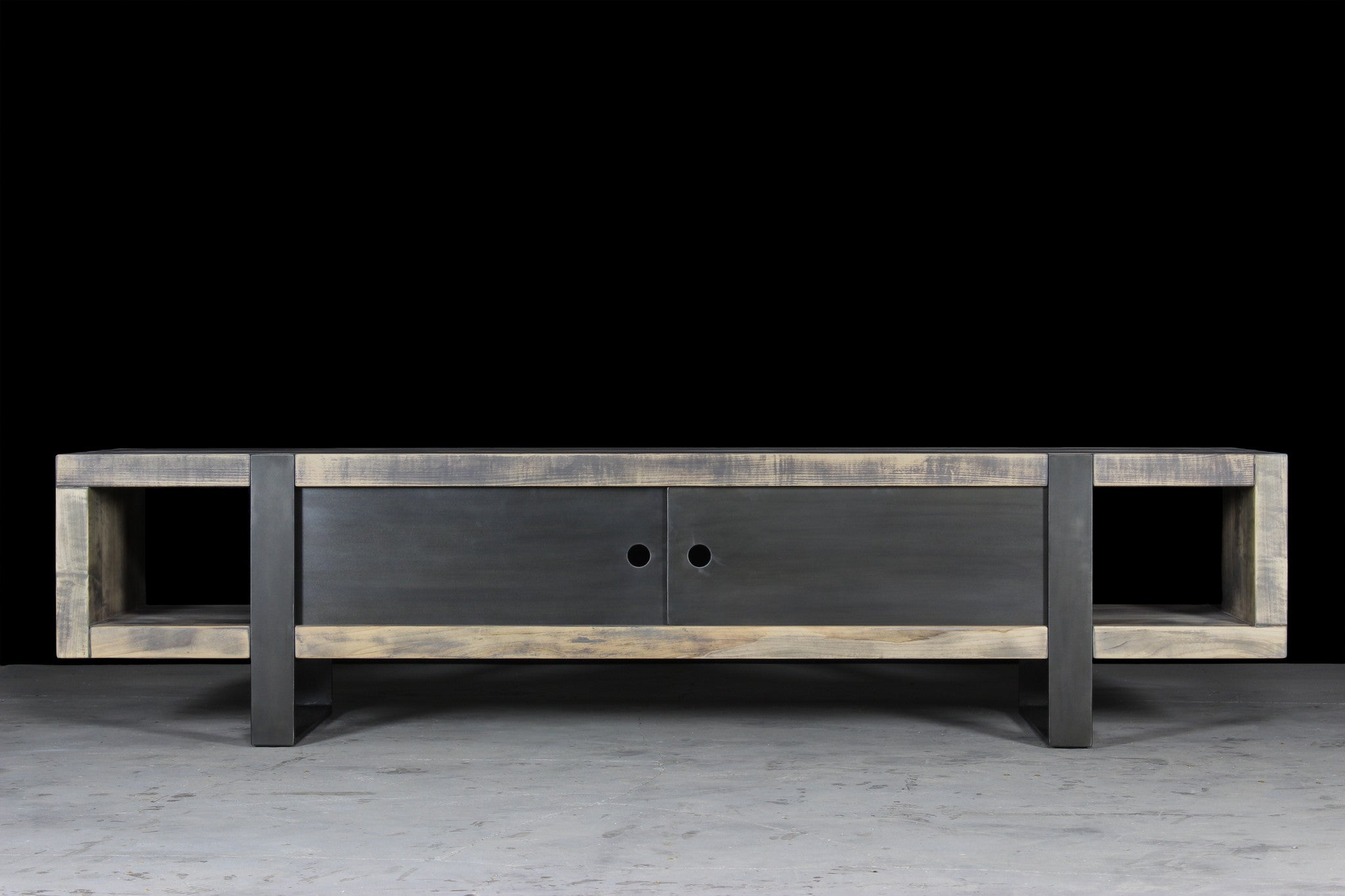 7' media console | worn maple wood finish with waxed steel